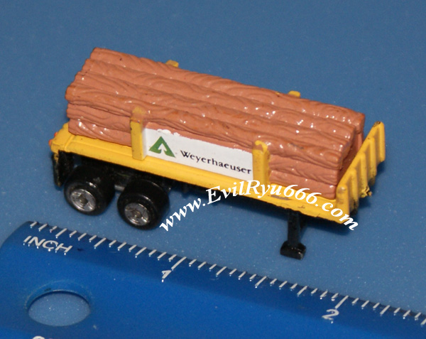 Micro Machines Galoob Semi Flatbed Trailer Yellow Logs